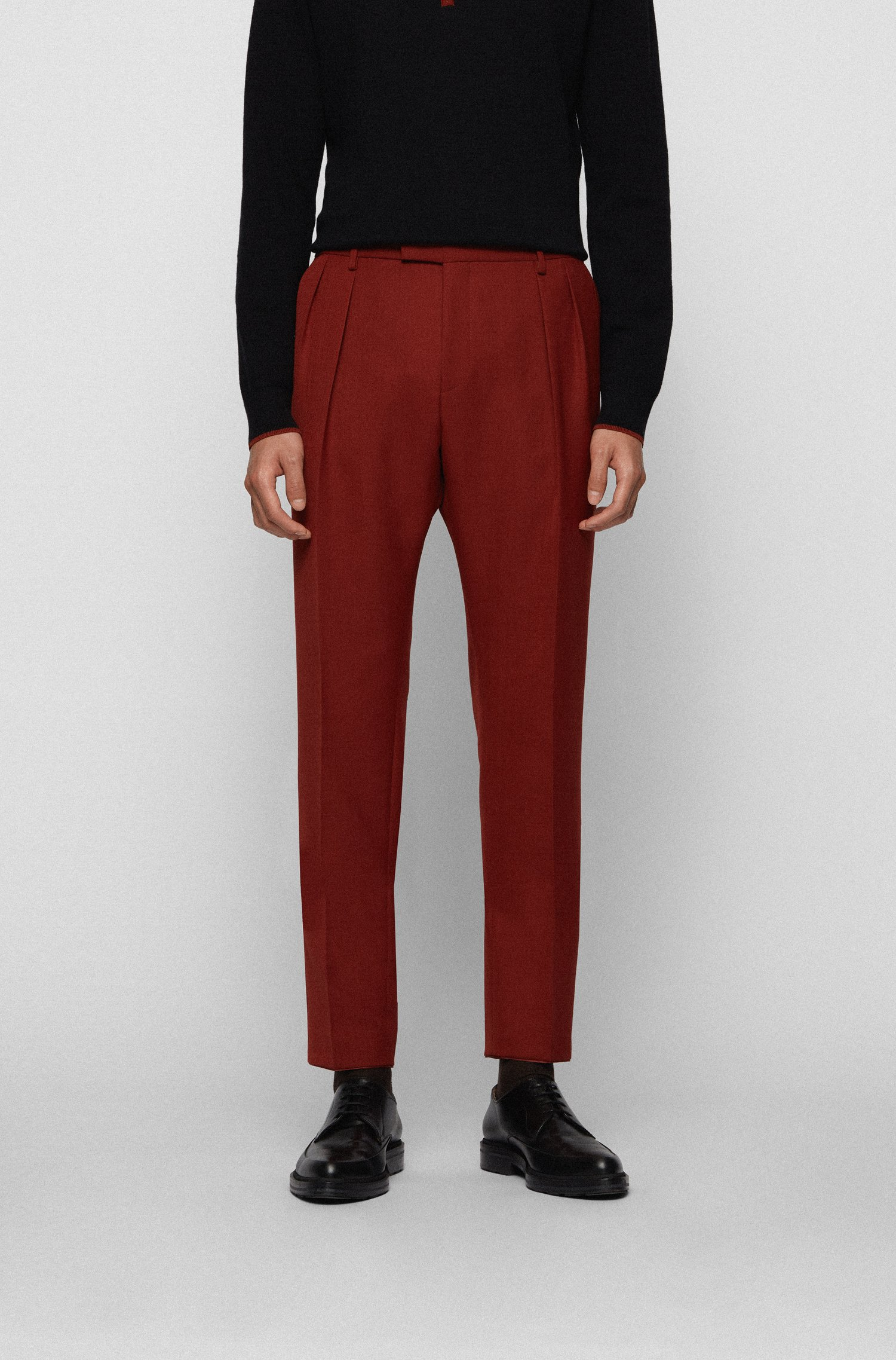 Extra-slim-fit trousers with front pleats, Brown