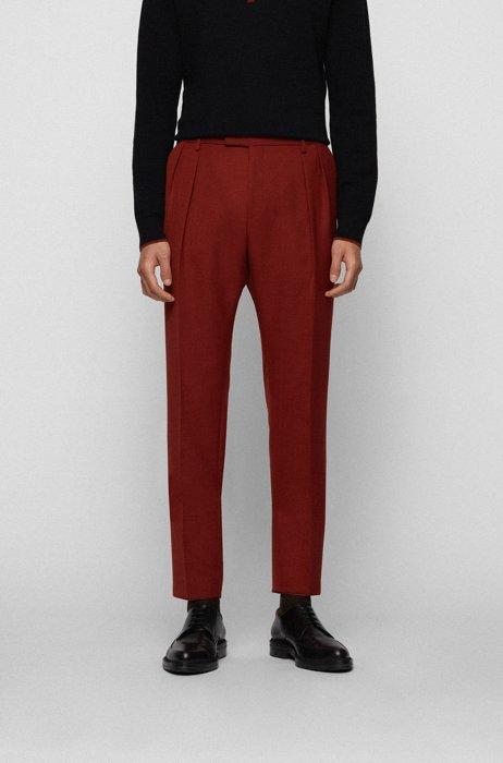 Extra slim-fit broek met plooien aan de voorkant, Bruin