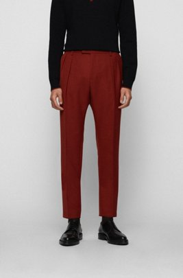 Pantalones extra slim fit con pinzas delanteras, Marrón