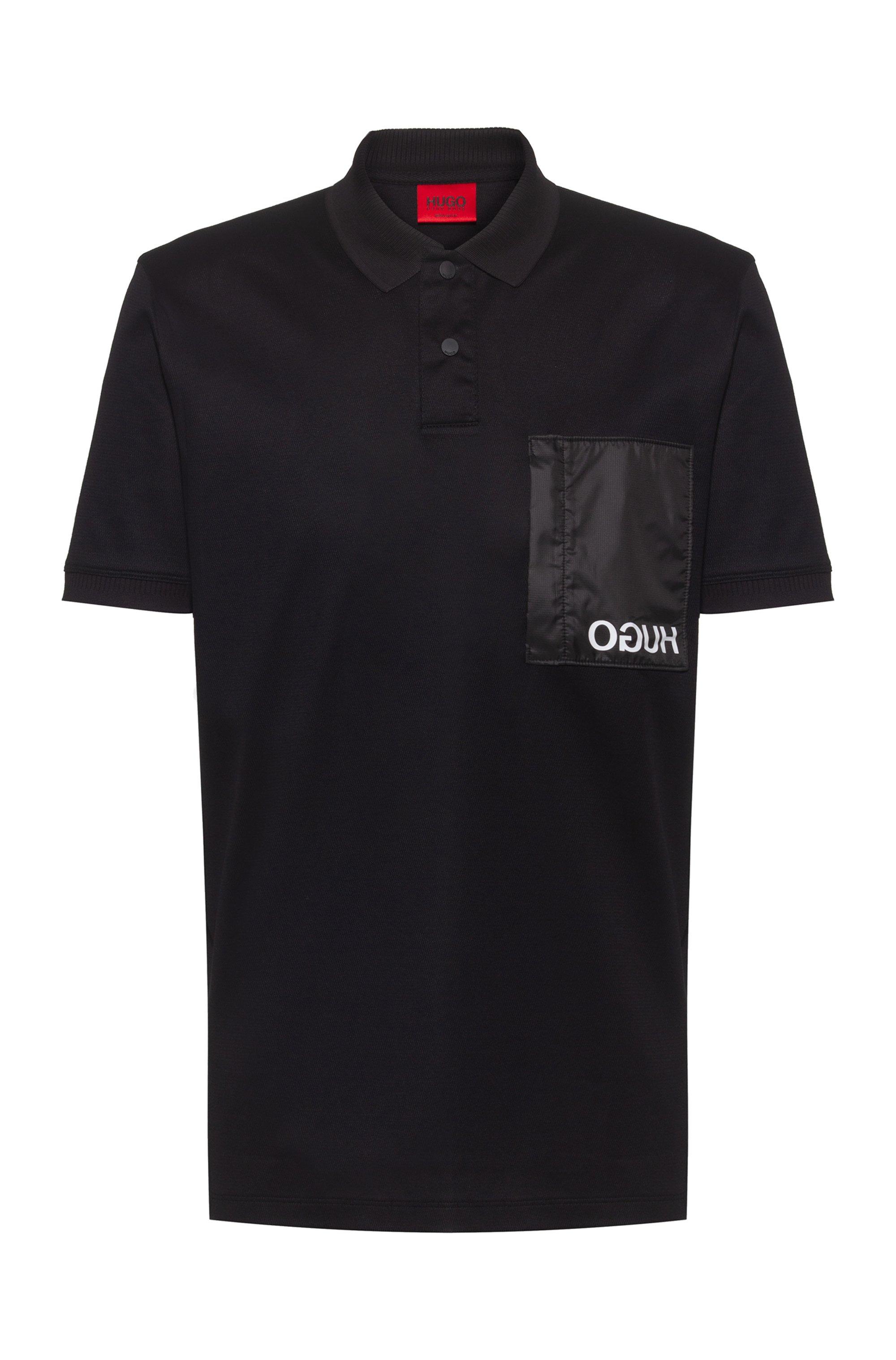 Polo in cotone con tasca con logo reversed, Nero
