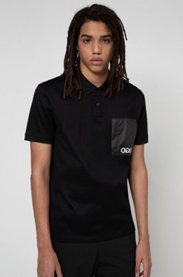 Cotton polo shirt with reverse-logo pocket, Black