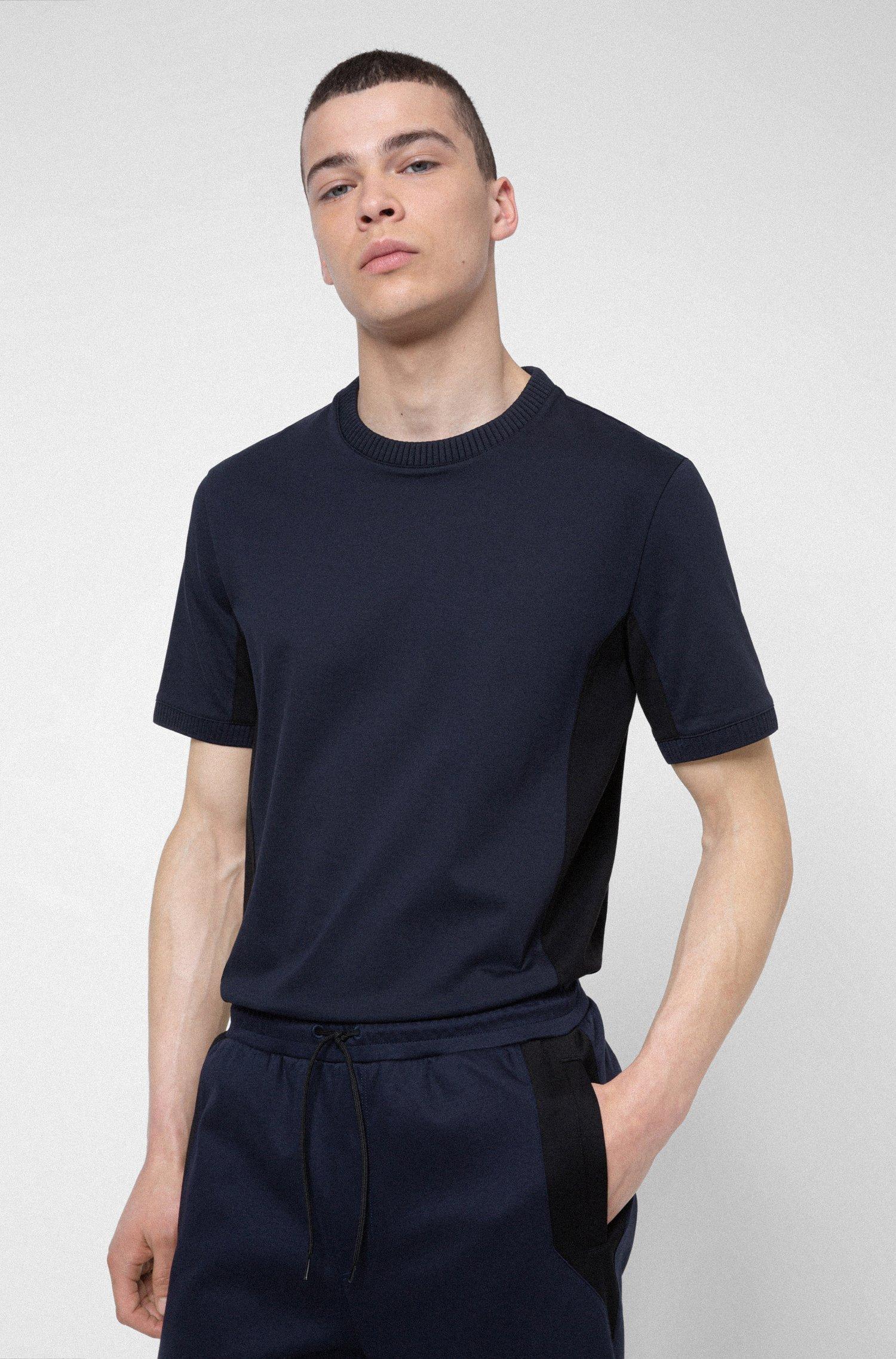 Mercerised-cotton T-shirt with contrast side panels, Dark Blue