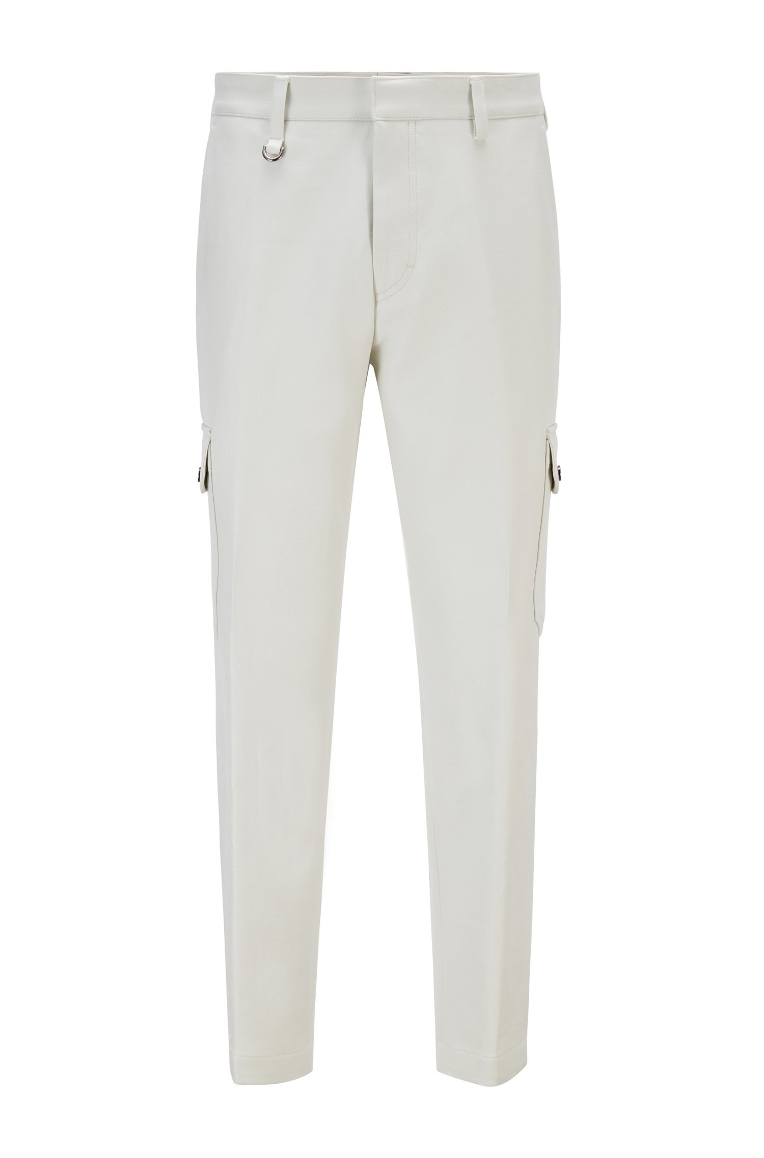 Oversized-fit cargo trousers in cotton with D-ring detail, White