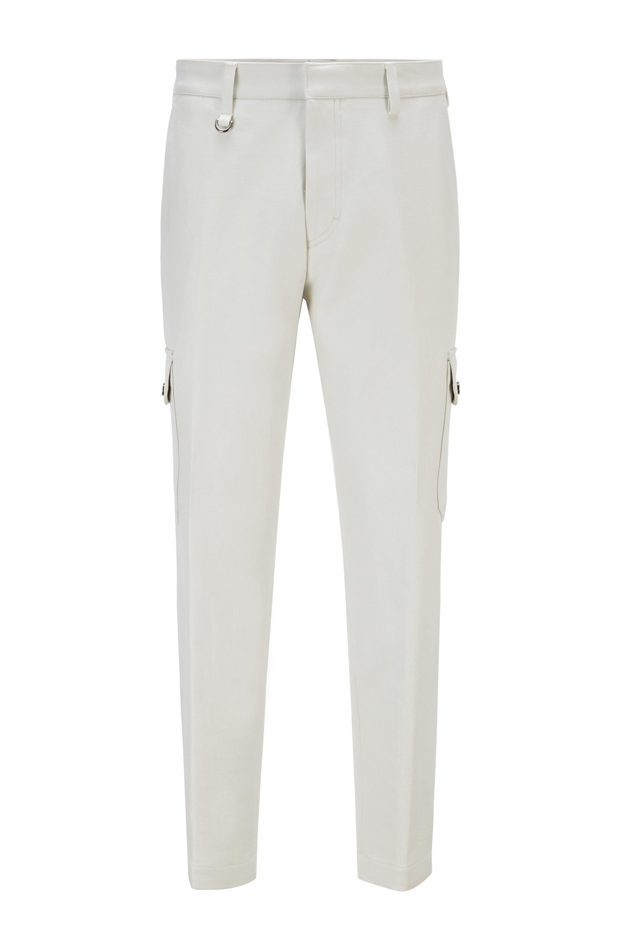 Pantalones cargo oversize fit en algodón con detalle de anilla semicircular, Blanco