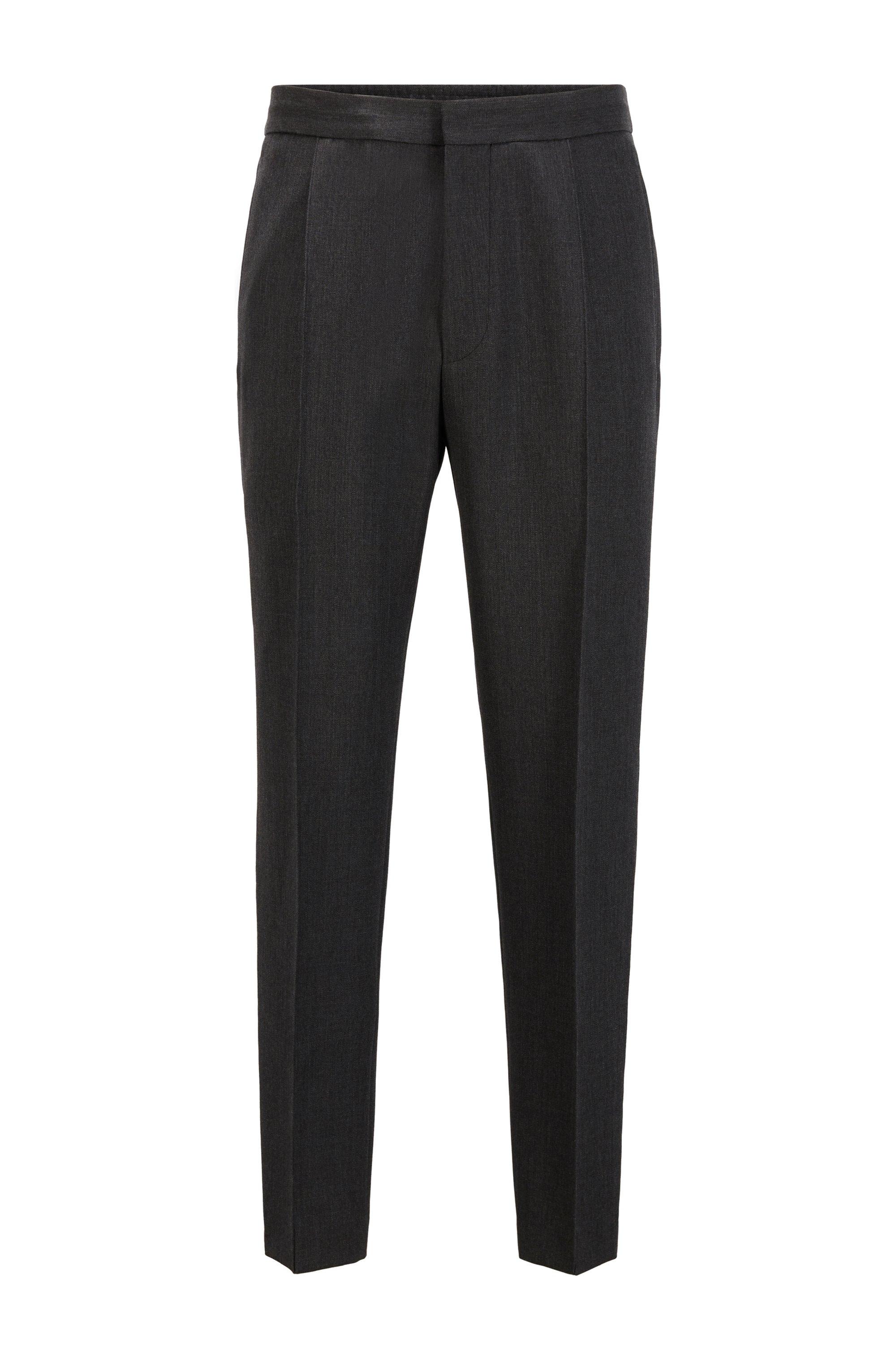 Pantaloni straight fit in lana vergine con piega cucita, Grigio scuro