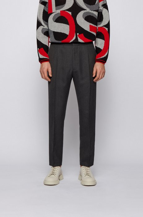 Straight-fit trousers in virgin wool with stitched crease, Dark Grey