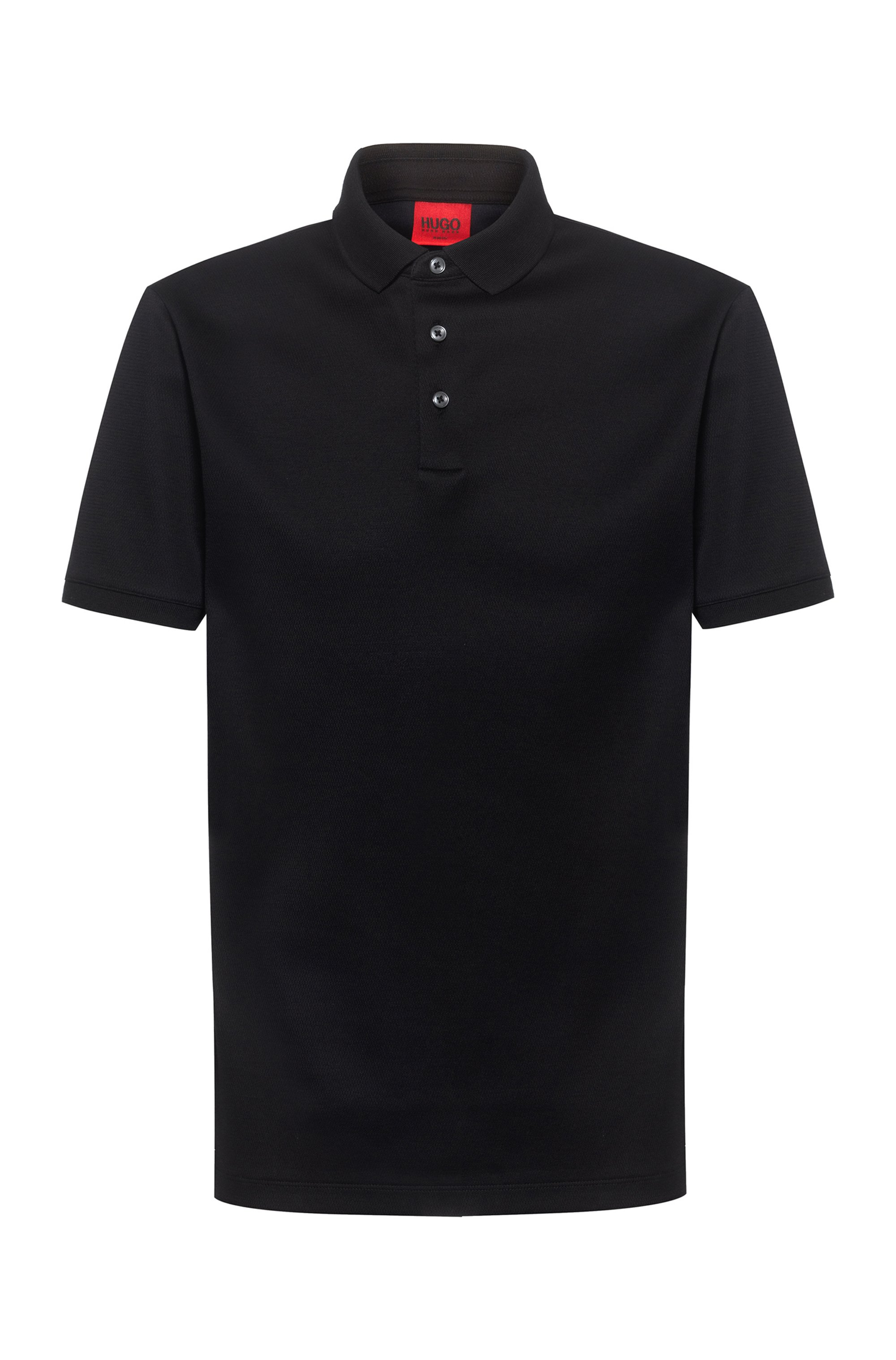 Slim-fit polo shirt in cotton jacquard, Black