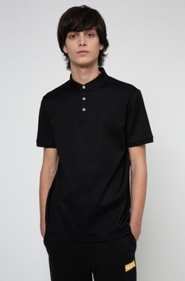 Slim-fit polo shirt in cotton jacquard, Black