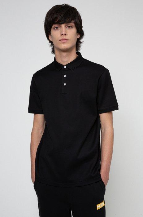 Poloshirt aus Baumwoll-Jacquard, Schwarz