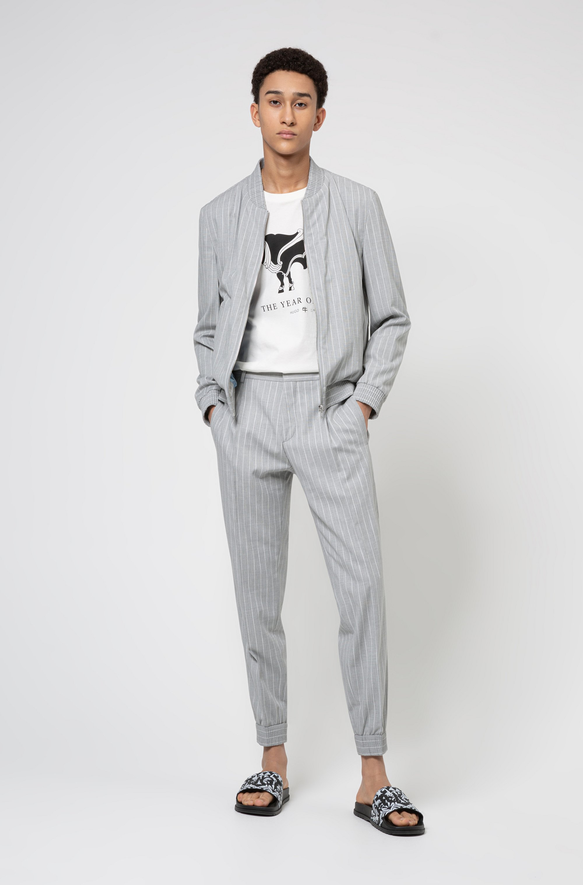 Extra-slim-fit jacket in pinstripe stretch twill