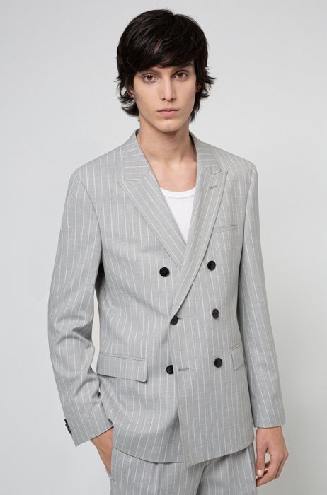 Extra-slim-fit double-breasted jacket in pinstripe twill, Grey