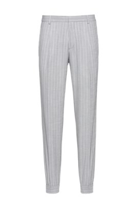 Pinstripe extra-slim-fit trousers in stretch twill, Grey Patterned