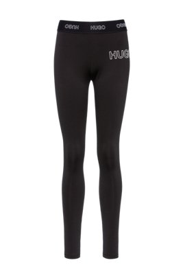 Slim-fit trousers in stretch jersey with 3D logo, Black