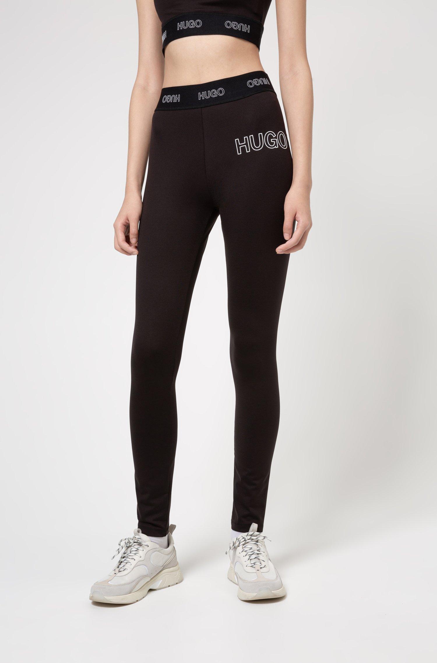 Slim-fit broek van stretchjersey met 3D-logo, Zwart