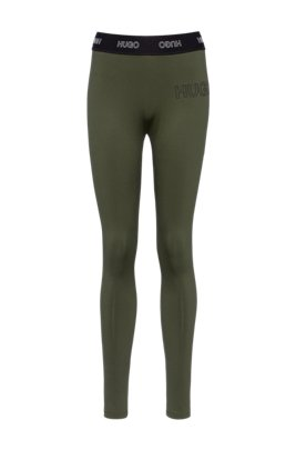 Slim-fit trousers in stretch jersey with 3D logo, Khaki