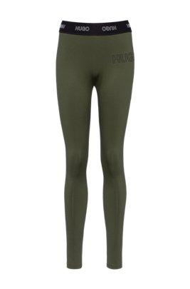 Slim-fit broek van stretchjersey met 3D-logo, Kaki