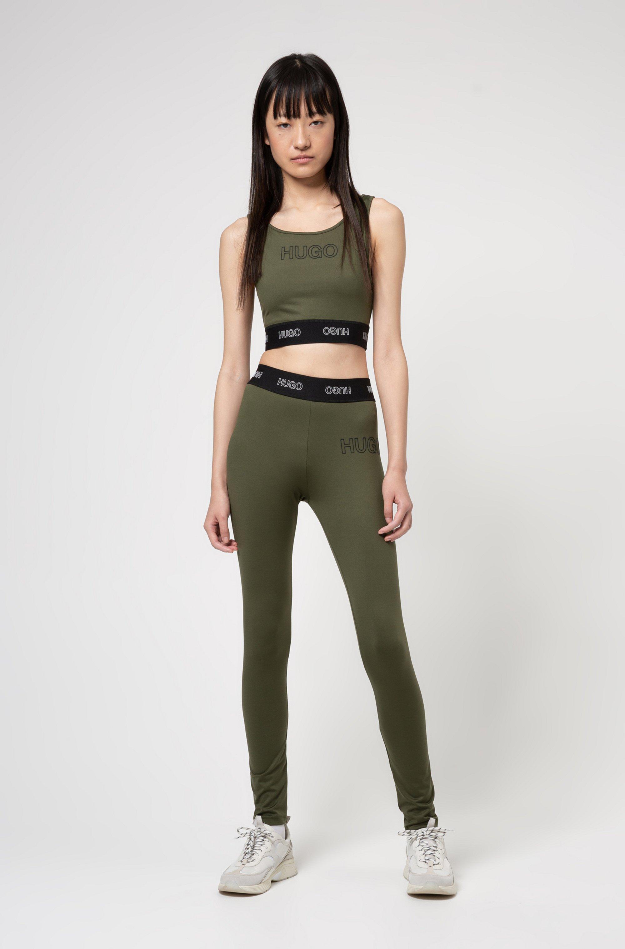 Slim-fit broek van stretchjersey met 3D-logo