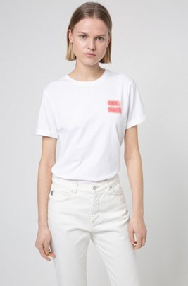 Cotton-jersey T-shirt with collection-themed print, White