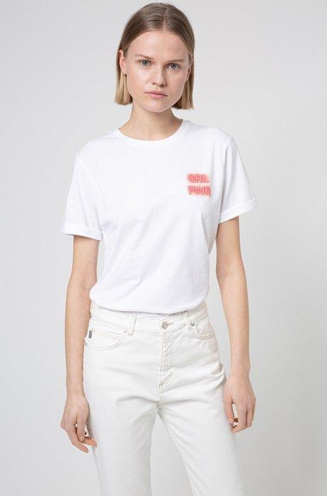 T-shirt en jersey de coton avec imprimé emblématique de la collection, Blanc