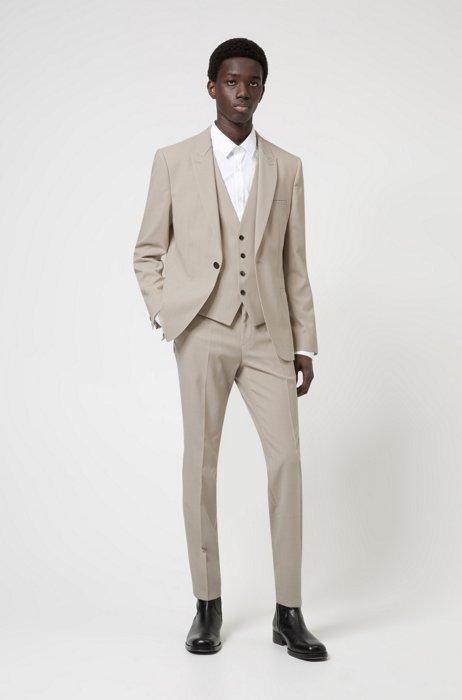 Extra-slim-fit three-piece suit in stretch fabric, Beige