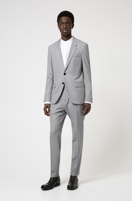 Extra-slim-fit suit in a stretch-wool blend, Light Grey
