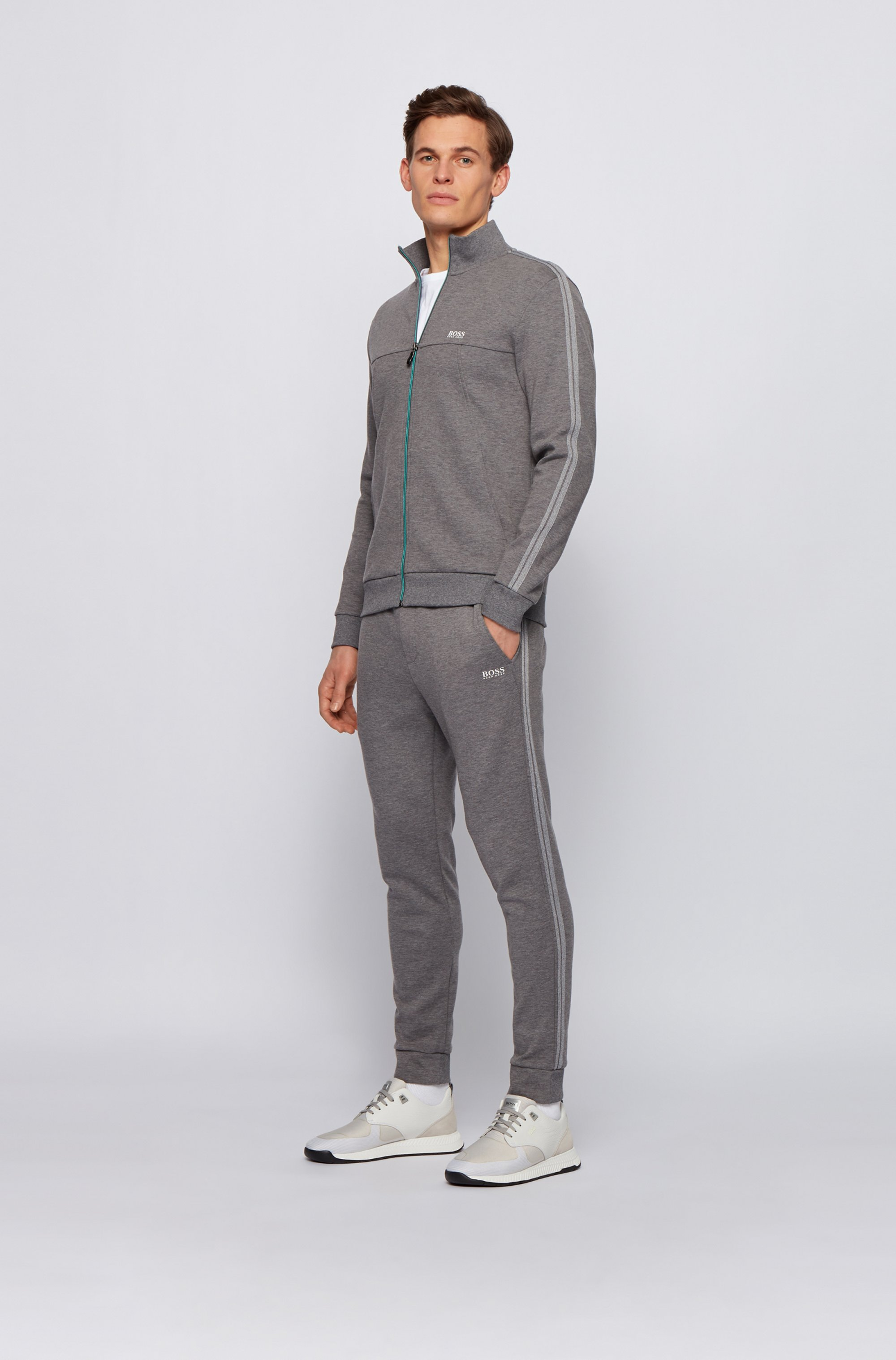 Regular-fit tracksuit in cotton-blend jersey