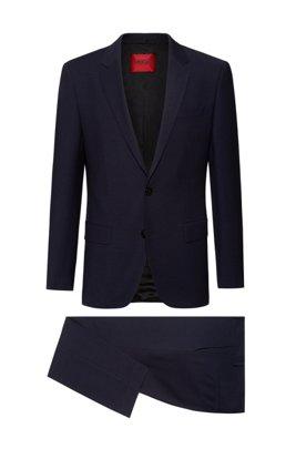 Slim-fit suit in a super-flex wool blend, Dark Blue