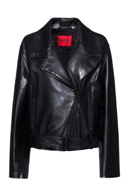 Regular-fit biker jacket in leather with asymmetric zip, Black