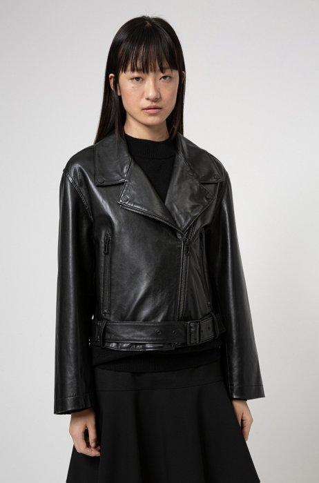 Regular-fit biker jacket in leather with asymmetric zip, Black