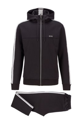 Regular-fit cotton-blend tracksuit with contrast stripes, Black