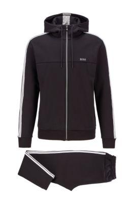 Regular-fit cotton-blend tracksuit with contrast stripes, Black