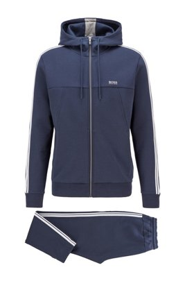 Regular-fit cotton-blend tracksuit with contrast stripes, Dark Blue