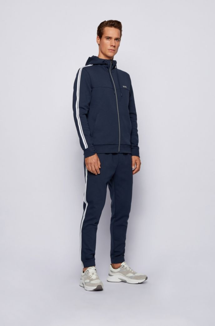 Regular-fit cotton-blend tracksuit with contrast stripes