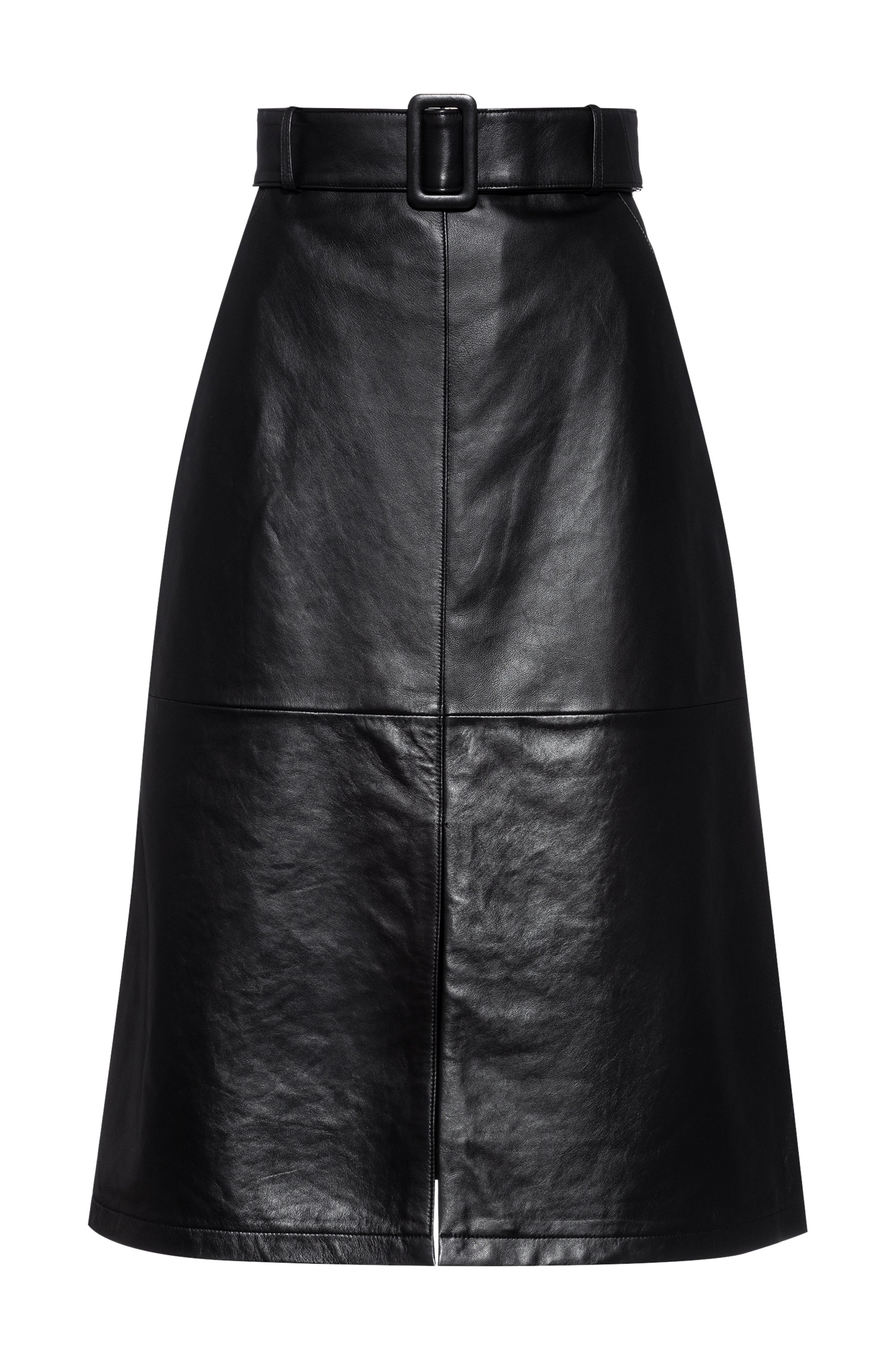A-line midi skirt in leather with belted waist, Black