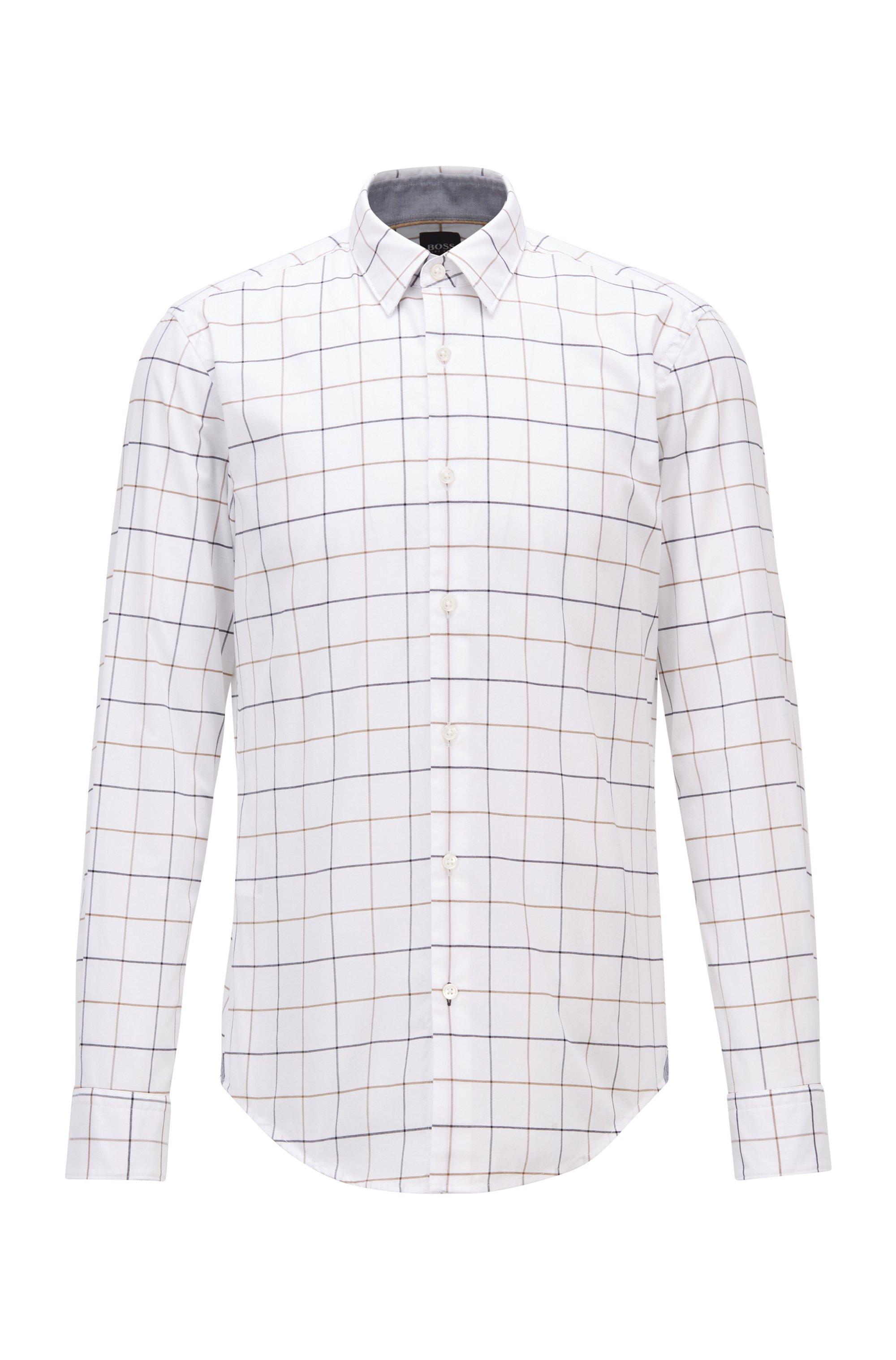 Chemise Slim Fit en popeline de coton lavé à carreaux, Blanc à motif