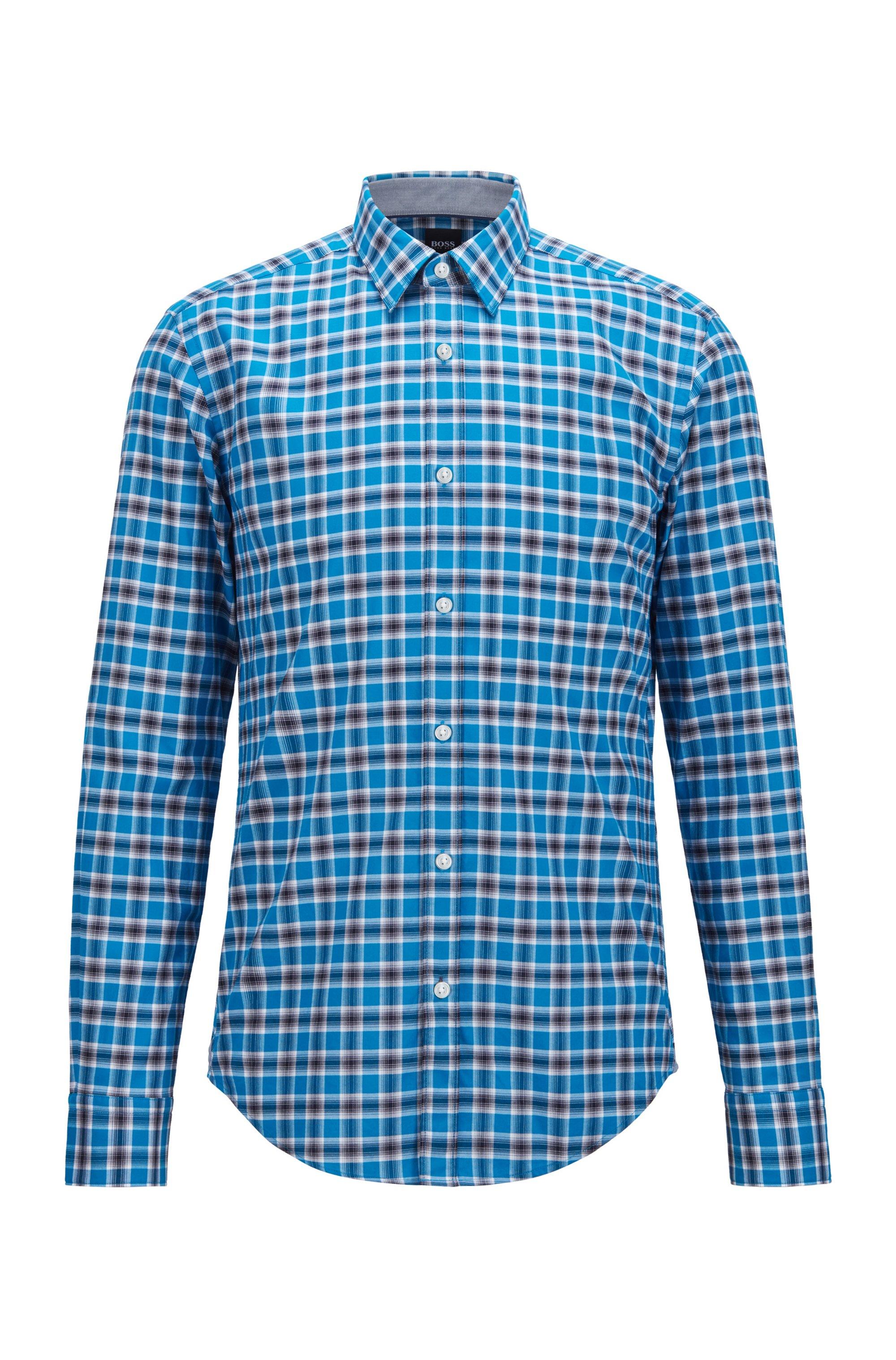 Chemise Slim Fit en popeline de coton lavé à carreaux, Turquoise