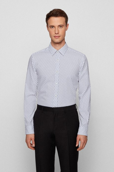 Geometric-print slim-fit shirt in cotton dobby, Blue Patterned