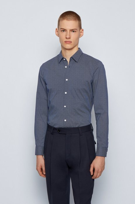 Slim-fit shirt in printed Awatti cotton, Dark Blue