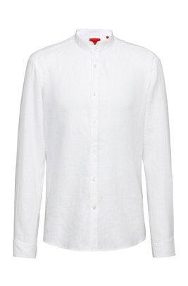 Camicia extra slim fit in lino lavato con colletto rialzato, Bianco