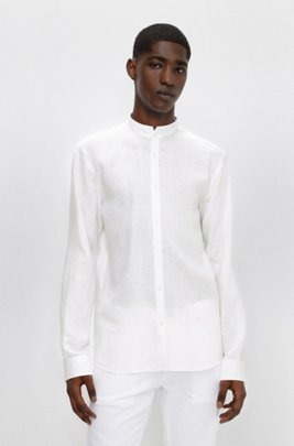 Extra-slim-fit washed-linen shirt with stand collar, White
