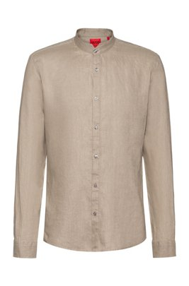 Extra-slim-fit washed-linen shirt with stand collar, Beige