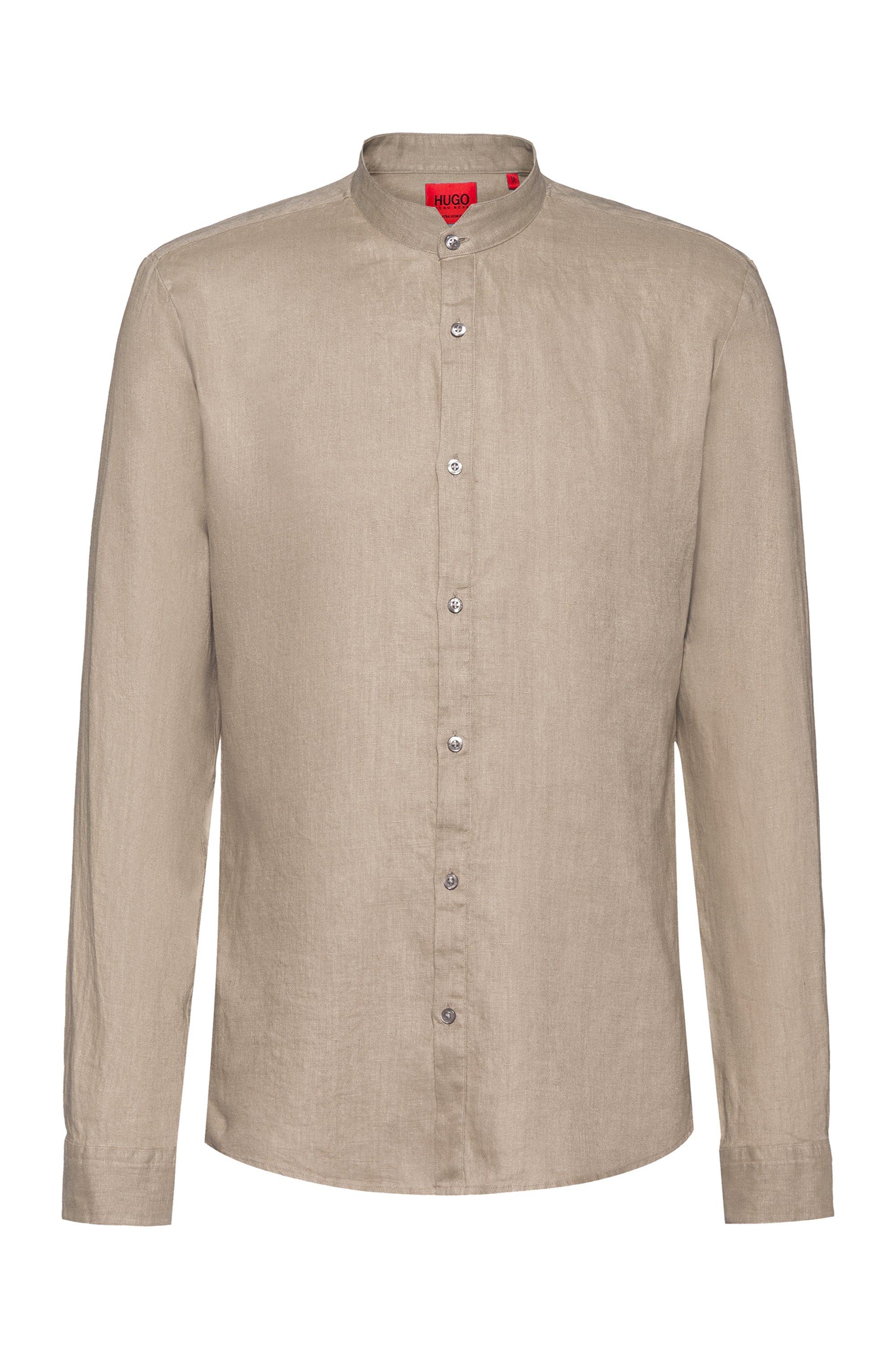 Camicia extra slim fit in lino lavato con colletto rialzato, Beige
