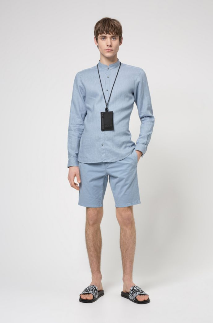 Extra-slim-fit washed-linen shirt with stand collar