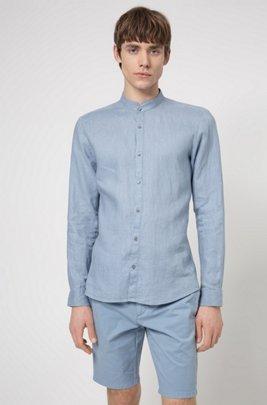 Camicia extra slim fit in lino lavato con colletto rialzato, Blu