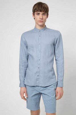 Extra-slim-fit washed-linen shirt with stand collar, Blue
