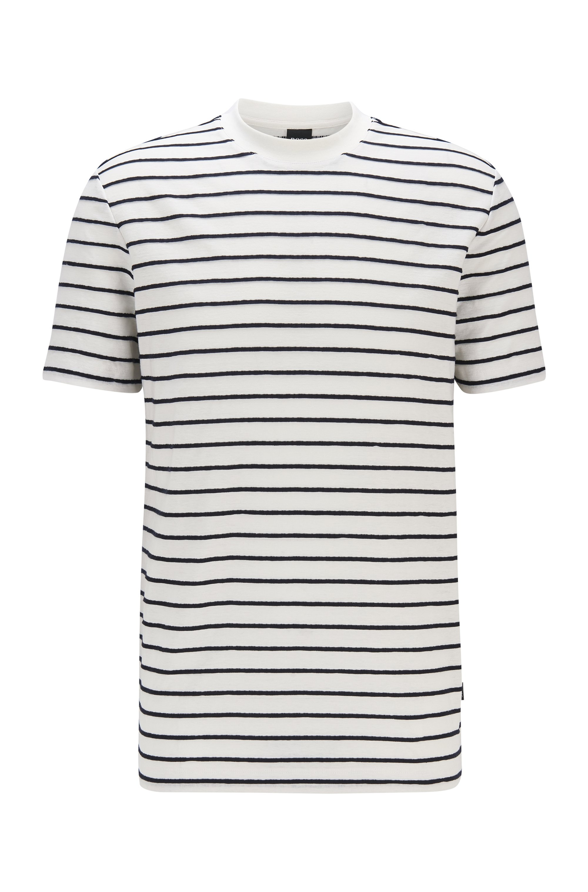 Regular-fit cotton-linen T-shirt with horizontal stripes, White Patterned