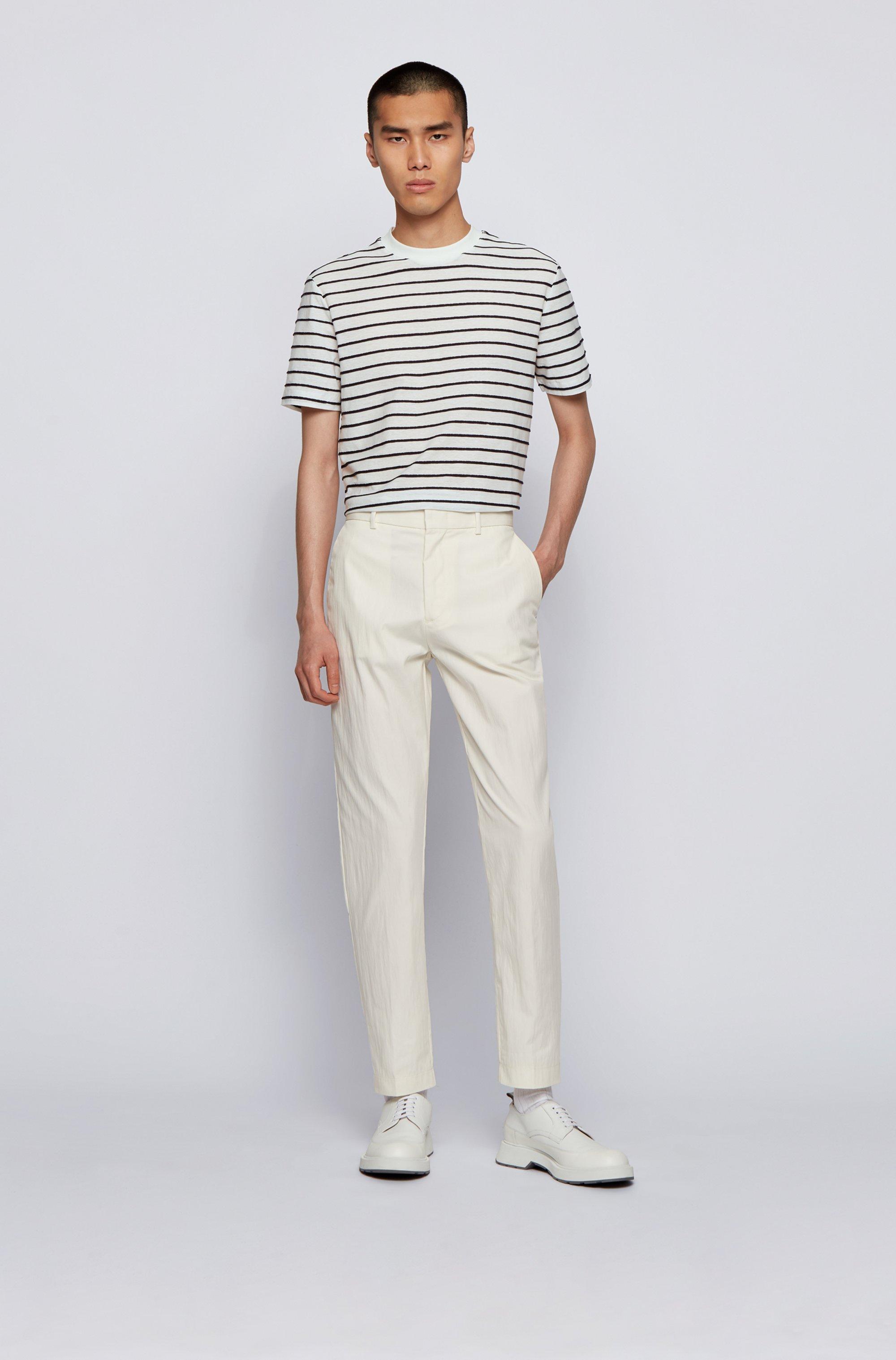 Regular-fit cotton-linen T-shirt with horizontal stripes