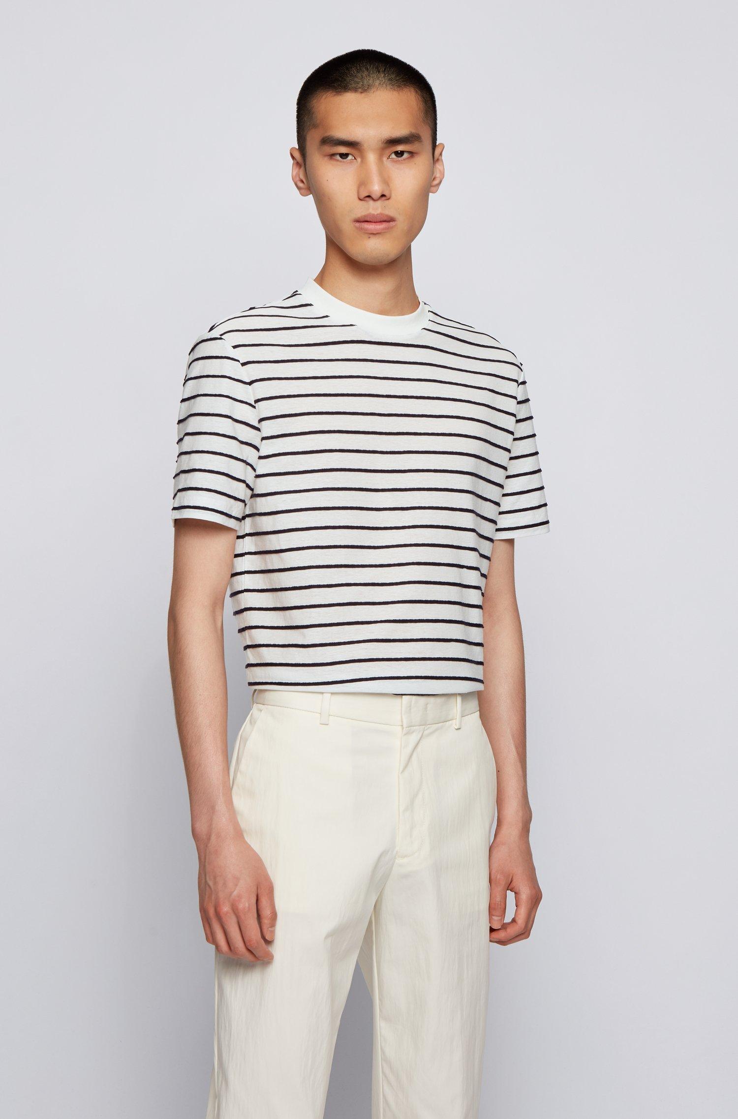 T-Shirt aus Baumwolle und Leinen mit Querstreifen, Weiß gemustert