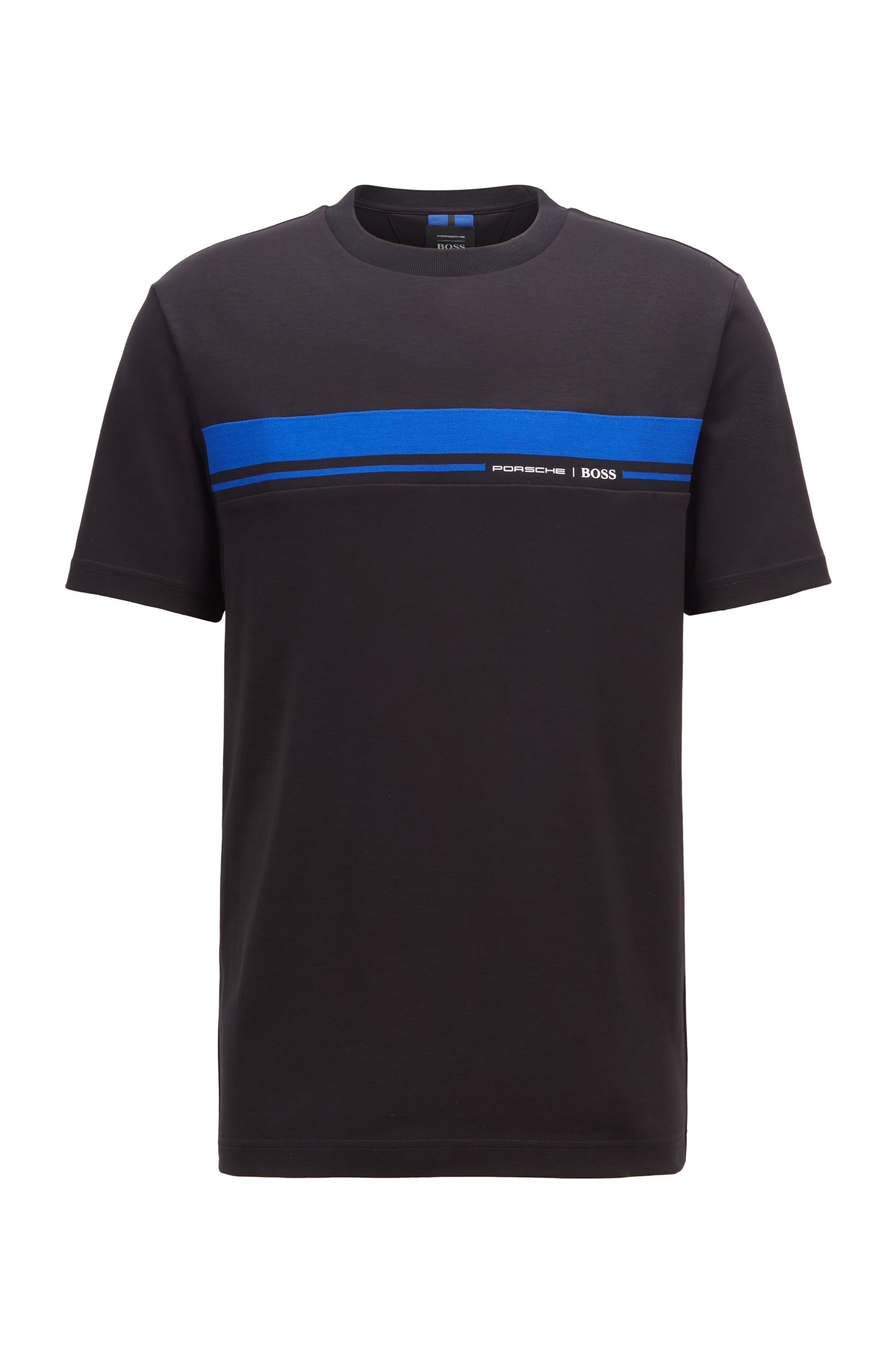 T-Shirt aus Baumwolle mit Rundhalsausschnitt und Print der Kollektion, Schwarz