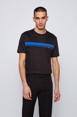 コットン クルーネックTシャツ コレクションテーマプリント, ブラック